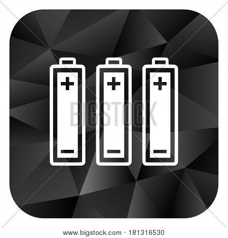Battery black color web modern brillant design square internet icon on white background.