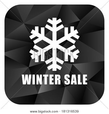 Winter sale black color web modern brillant design square internet icon on white background.