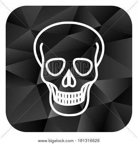 Skull black color web modern brillant design square internet icon on white background.
