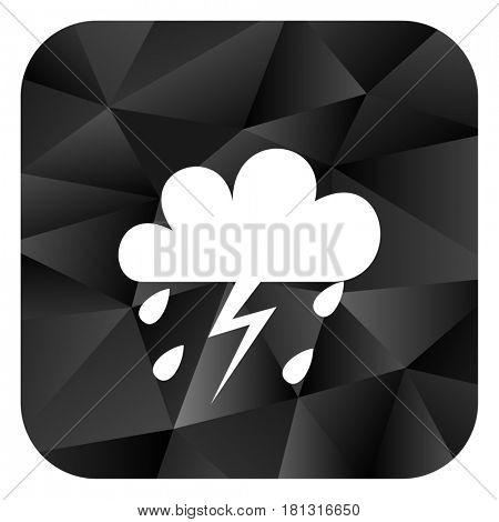 Storm black color web modern brillant design square internet icon on white background.