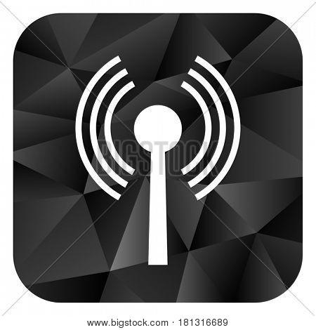 Wifi black color web modern brillant design square internet icon on white background.
