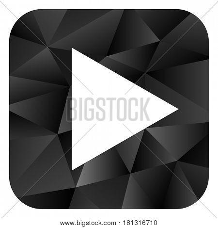 Play black color web modern brillant design square internet icon on white background.