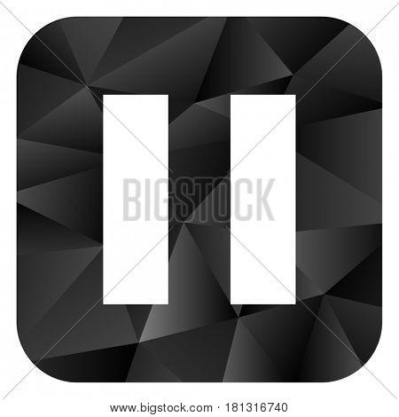 Pause black color web modern brillant design square internet icon on white background.