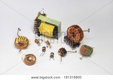 Electronic Components: Inductors With Toroid Core, Small Transformer And High-frequency Inductance C