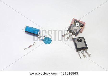 Set Of Electronics: Transistors, Capacitors, Diode