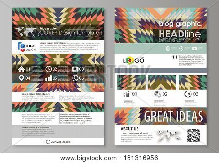 Blog graphic business templates. Page website design template, easy editable abstract vector layout. Tribal pattern, geometrical ornament in ethno syle, ethnic hipster backdrop, vintage fashion background.