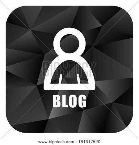 Blog black color web modern brillant design square internet icon on white background.