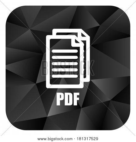 Pdf black color web modern brillant design square internet icon on white background.,