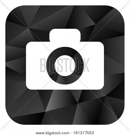 Camera black color web modern brillant design square internet icon on white background.
