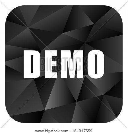 Demo black color web modern brillant design square internet icon on white background.