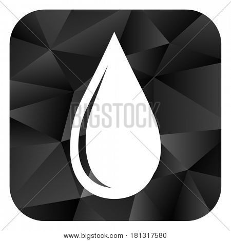 Water drop black color web modern brillant design square internet icon on white background.