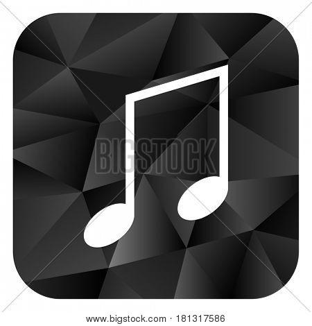 Music black color web modern brillant design square internet icon on white background.