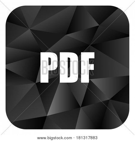 Pdf black color web modern brillant design square internet icon on white background.