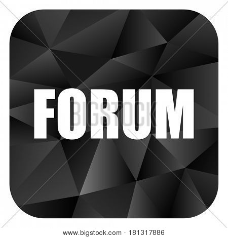 Forum black color web modern brillant design square internet icon on white background.