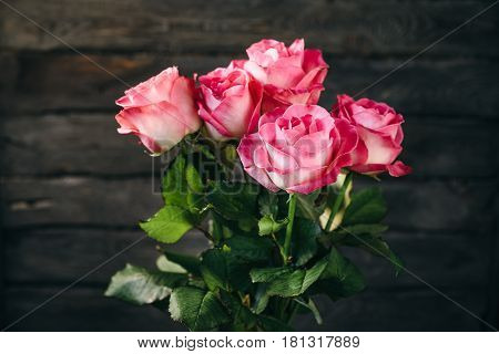 Bouquet of five pink roses infront of dark wooden wall.