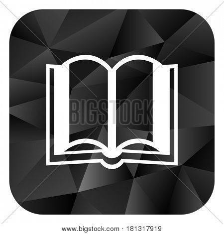 Book black color web modern brillant design square internet icon on white background.