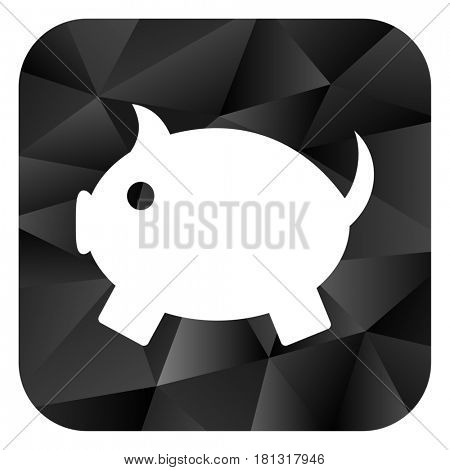 Piggy bank black color web modern brillant design square internet icon on white background.