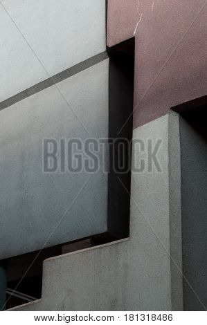 Abstract lines on architecture building closeup vertical
