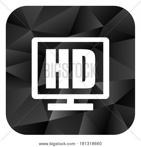 Hd display black color web modern brillant design square internet icon on white background.