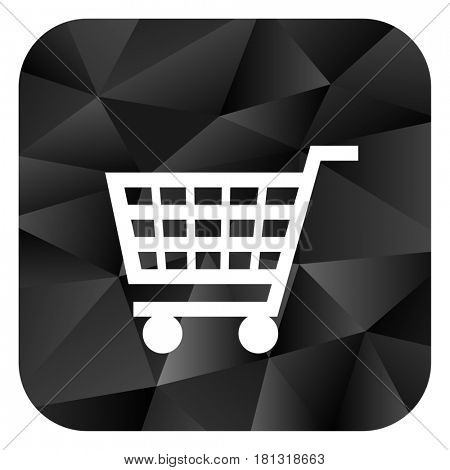 Cart black color web modern brillant design square internet icon on white background.