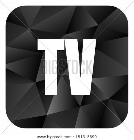 Tv black color web modern brillant design square internet icon on white background.