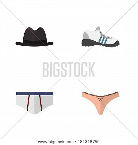 Flat Dress Set Of Sneakers, Lingerie, Underclothes And Other Vector Objects. Also Includes Briefs, Sneakers, Lingerie Elements.