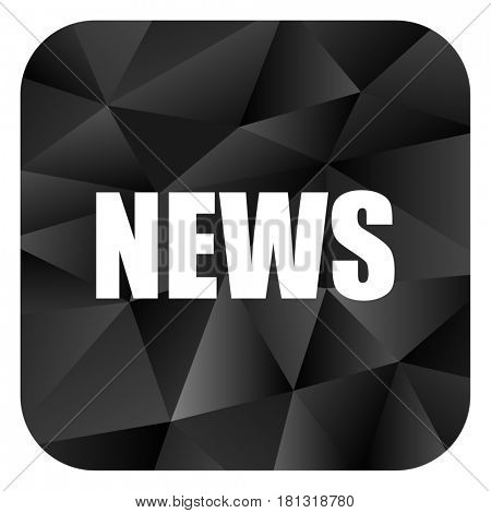 News black color web modern brillant design square internet icon on white background.