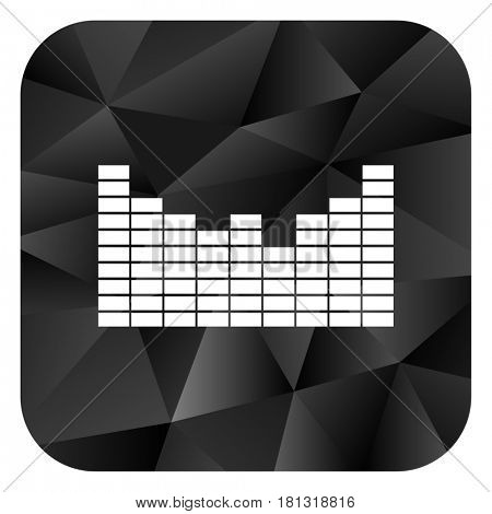 Sound black color web modern brillant design square internet icon on white background.