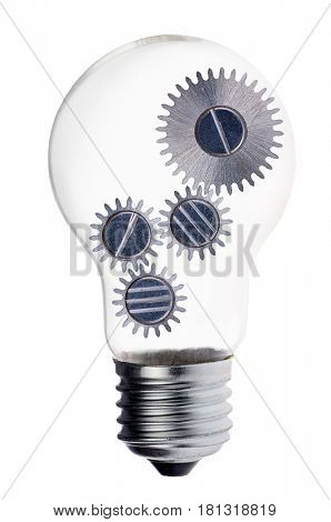 electric lamp bulb with silver pinions isolated on white background