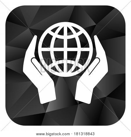 Hand protect the earth black color web modern brillant design square internet icon on white background.