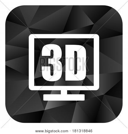 3d display black color web modern brillant design square internet icon on white background.