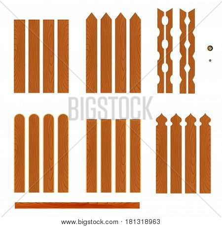 Set of wooden fence planks of different forms isolated on white background. Collection of elements for logos, pictures, print products, page, web and game design. Vector illustration.