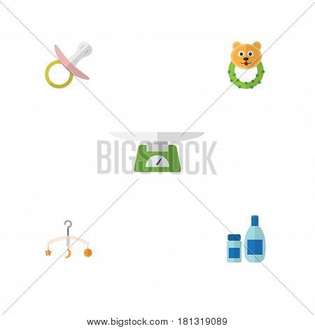Flat Infant Set Of Mobile, Children Scales, Rattle And Other Vector Objects. Also Includes Children, Cosmetics, Lotion Elements.