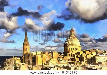 Colorful view of Carmelite church La Valletta Malta