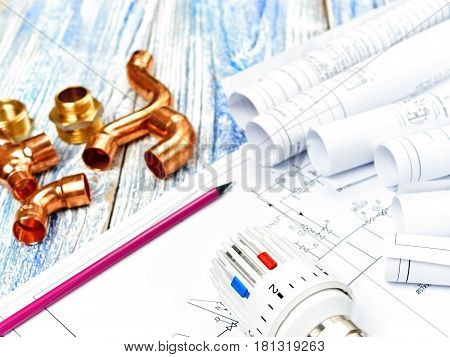 Engineering Concept Project of heating for house. thermostatic valve, copper fitting, heating valve project heating