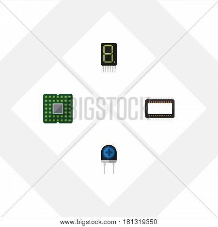 Flat Electronics Set Of Transducer, Unit, Mainframe And Other Vector Objects. Also Includes Calculate, Mainframe, Unit Elements.