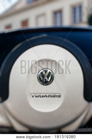 STRASBOURG FRANCE - APR 11 2017: Rear view of the spare wheel of a new Volkswagen Touareg the mid-size luxury crossover SUV produced by German automaker Volkswagen