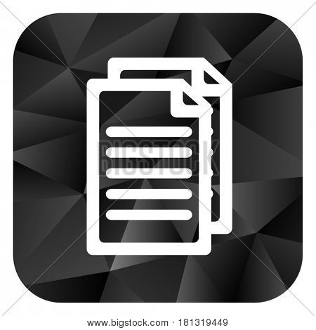 Document black color web modern brillant design square internet icon on white background.