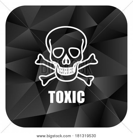 Toxic skull black color web modern brillant design square internet icon on white background.