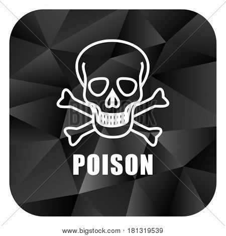 Poison skull black color web modern brillant design square internet icon on white background.