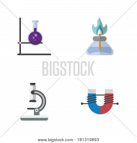 Flat Science Set Of Glass, Flame, Flask And Other Vector Objects. Also Includes Flame, Flask, Burner Elements.