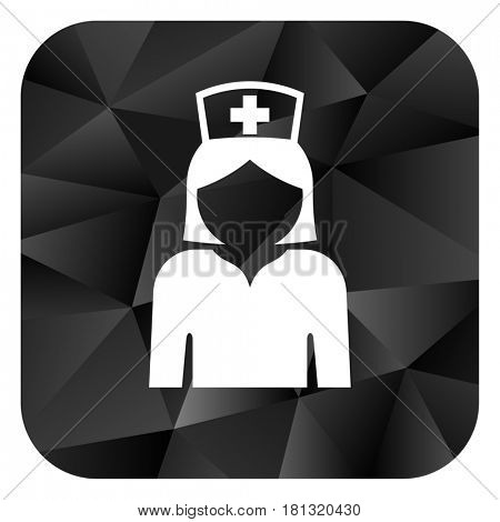 Nurse black color web modern brillant design square internet icon on white background.