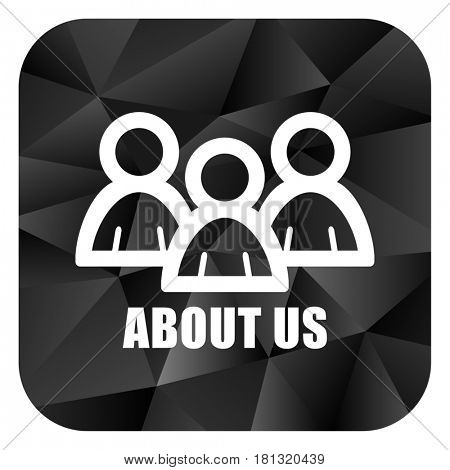 About us black color web modern brillant design square internet icon on white background.