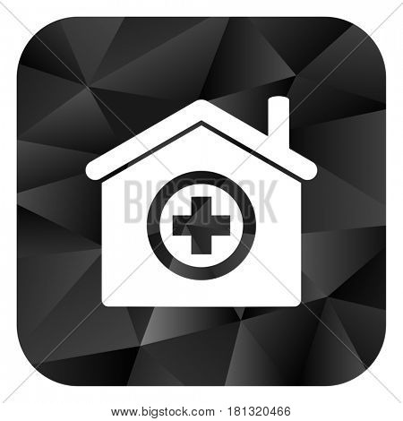 Hospital black color web modern brillant design square internet icon on white background.