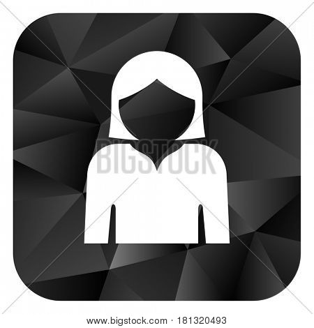 Profile avatar black color web modern brillant design square internet icon on white background.
