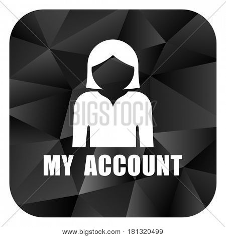 My account black color web modern brillant design square internet icon on white background.