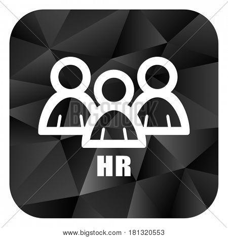 HR black color web modern brillant design square internet icon on white background.
