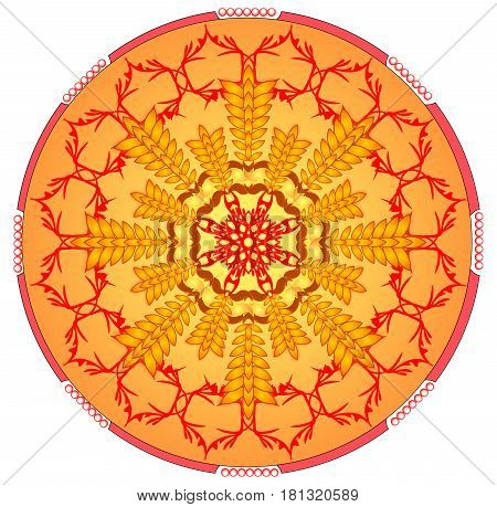 Circle orange mandala for energy and power obtaining