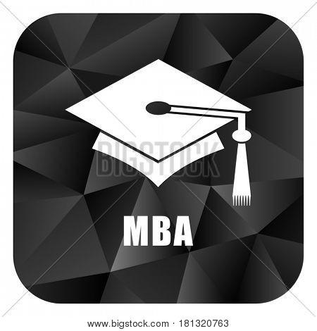 Mba black color web modern brillant design square internet icon on white background.