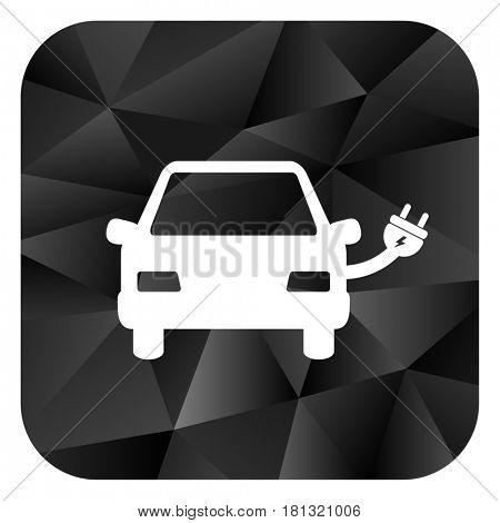 Electric car black color web modern brillant design square internet icon on white background.